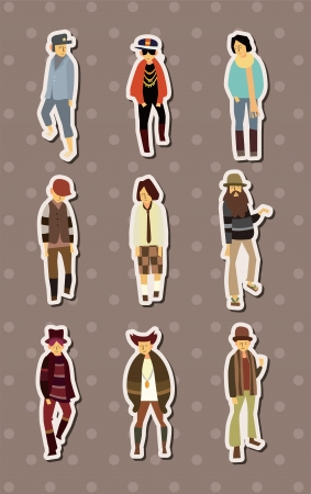cartoon charming young man stickers  Vector