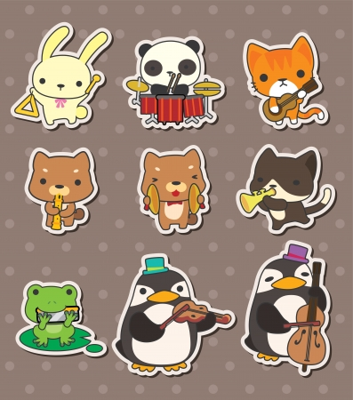 draw animal: music play music stickers Illustration