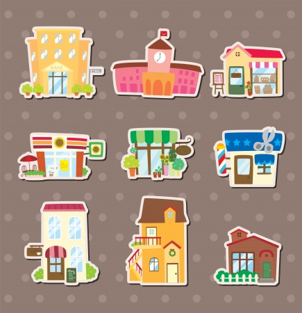 lighthearted: house and shop stickers Illustration