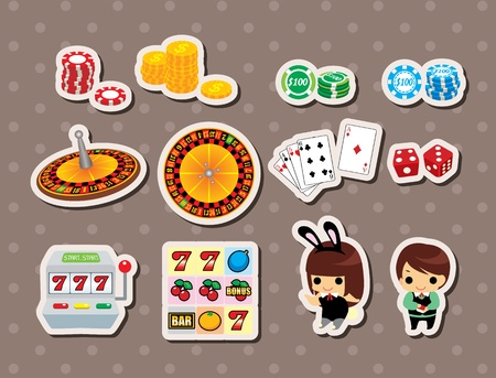 casino stickers Stock Vector - 15826416