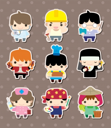 cartoon people job stickers Vector