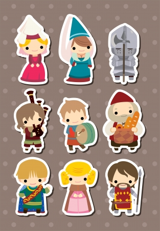 medieval woman: cartoon Medieval people stickers