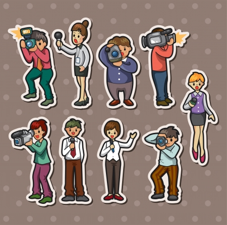 set of reporter people stickers Stock Vector - 15934273