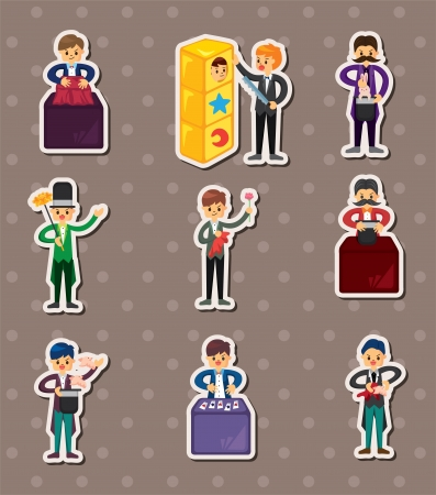 set of Cartoon magician stickers Vector