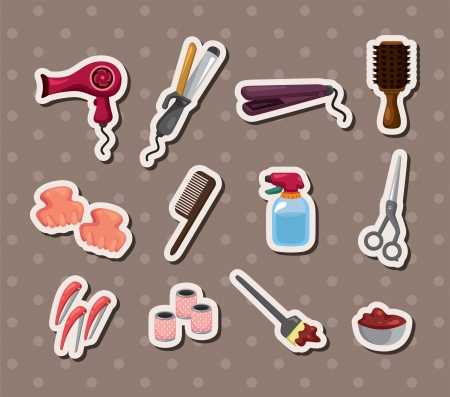 cartoon hairdresser: hairdressing KIT stickers Illustration