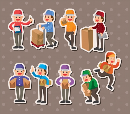express delivery: Express delivery people stickers Illustration