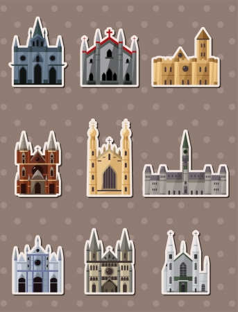cartoon Fairy tale castle stickers  Vector