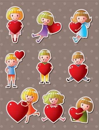 kid love stickers Stock Vector - 16059891