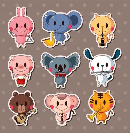 draw animal: animal play music stickers