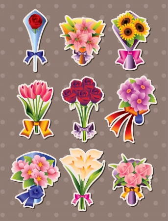 cartoon flower stickers Stock Vector - 16059894