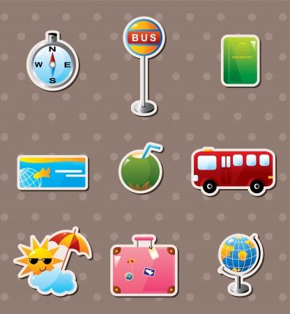 group of objects: reizen stickers Stock Illustratie