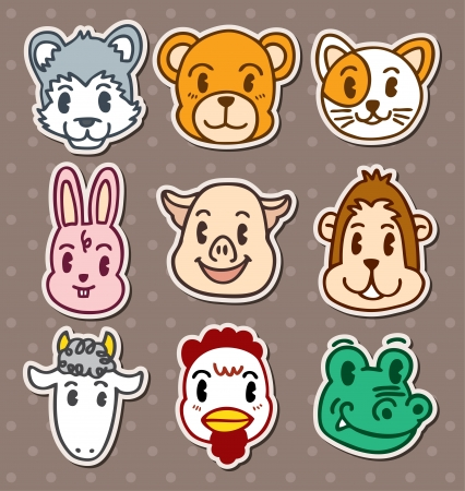 animal face stickers Vector