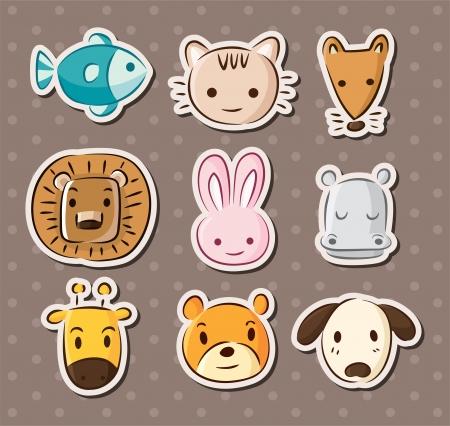 귀여운 동물의 얼굴을 스티커 일러스트