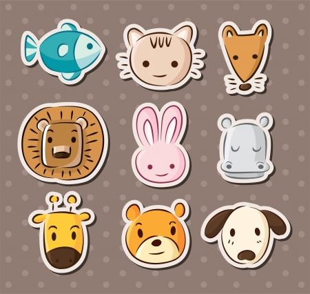 cute animal face stickers Vector