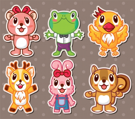 cute animal stickers Vector