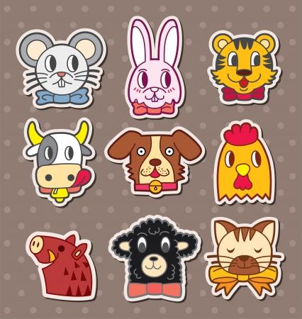 Pegatinas de animales cara Foto de archivo - 16059872