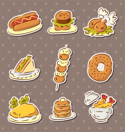 fast food stickers draw Vector