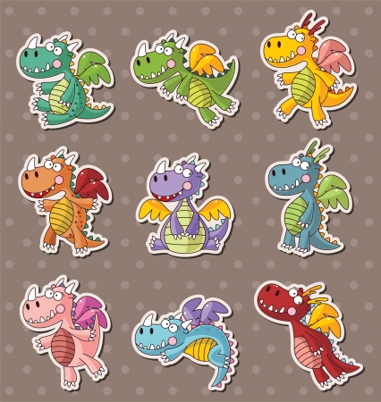 classical mythology character: fire dragon stickers