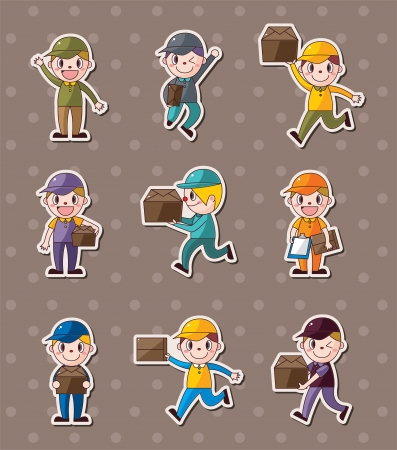 Express delivery people stickers Stock Vector - 16150950