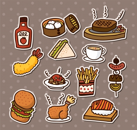 unhealthy food: fast food stickers