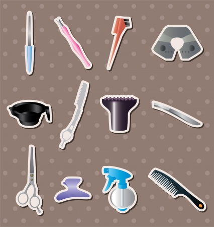 hairdressing KIT stickers  Vector