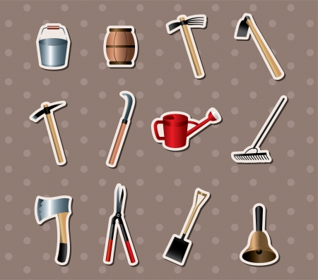 set of Gardening tools stickers Vector
