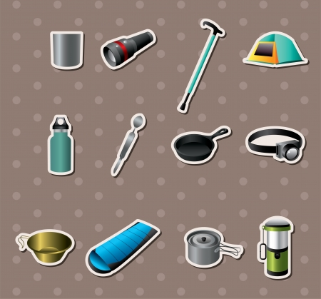 Camping tools stickers Vector