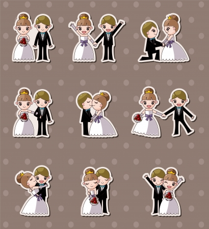 wedding couple: set of wedding ,Bridegroom and Bride stickers