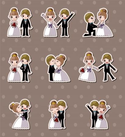 set van de bruiloft, bruidegom en bruid stickers