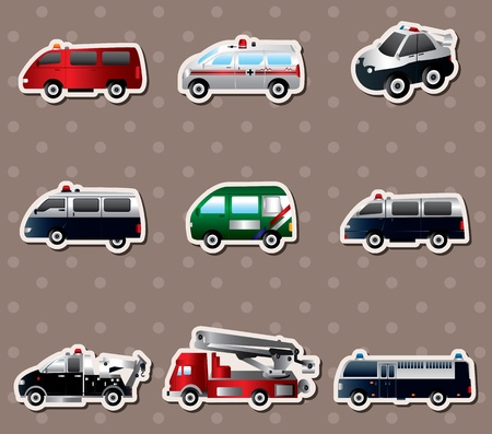 mail truck: Vector illustration of different types car stickers