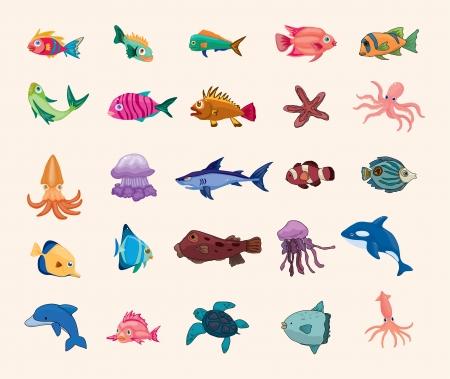 peces de acuario: icono de dibujos animados de pescado Vectores