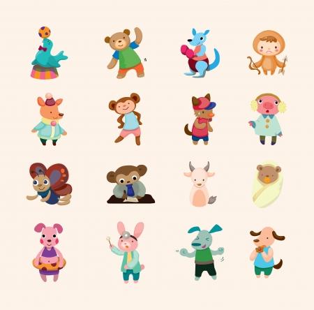boksör: hayvan ikonları seti Çizim