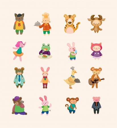 amigos comiendo: conjunto de iconos de animales Vectores
