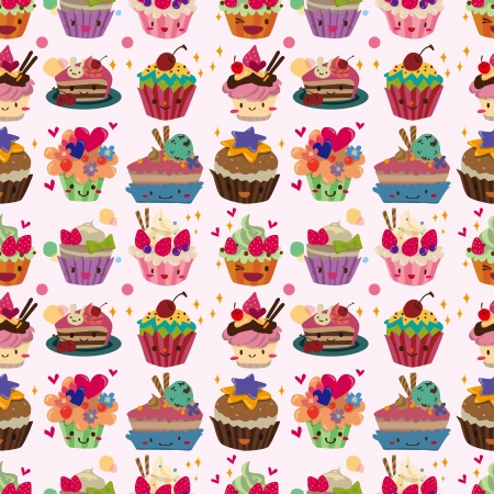 cup cakes: seamless cake pattern  Illustration