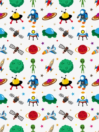 alien cartoon: seamless space pattern