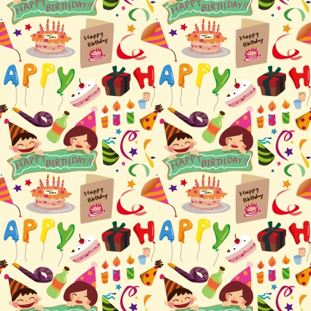 restyled: seamless birthday pattern  Illustration