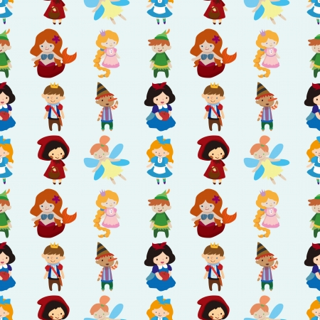 cartoon little red riding hood: seamless story people pattern  Illustration