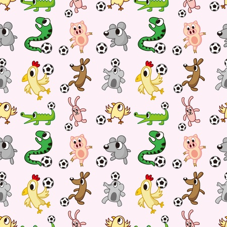 animal soccer seamless pattern Vector