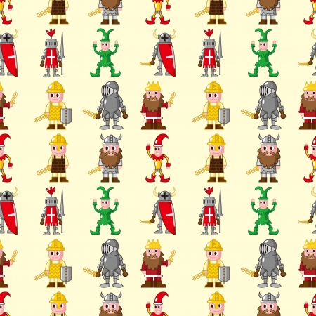 cilp: seamless medieval people pattern,cartoon vector illustration