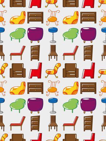 bedside: seamless Furniture pattern,cartoon vector illustration