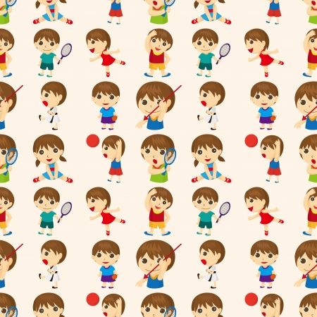 seamless sport people pattern,cartoon vector illustration Vector