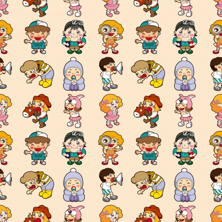 seamless kid pattern,cartoon vector illustration Vector