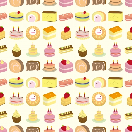 seamless cake pattern,cartoon vector illustration Vector