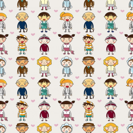 seamless family pattern,cartoon vector illustration Stock Vector - 16673397