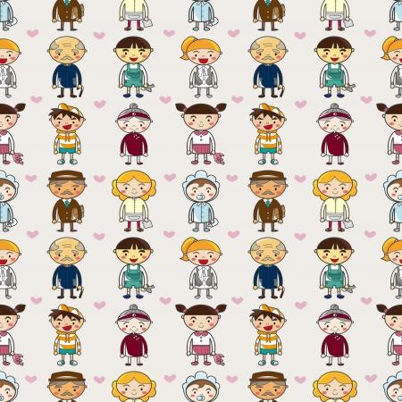 seamless family pattern,cartoon vector illustration Stock Vector - 16673397