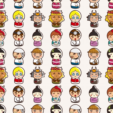 seamless people pattern,cartoon vector illustration Vector