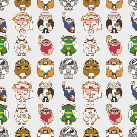 seamless people pattern,cartoon vector illustration Stock Vector - 16673399