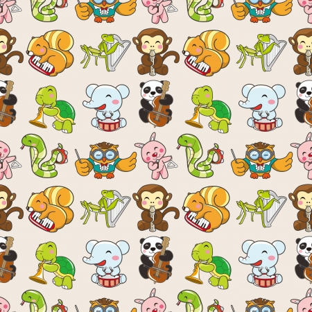 seamless animal pattern,cartoon vector illustration Vector
