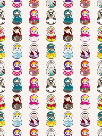 seamless Russian doll pattern,cartoon vector illustration Vector