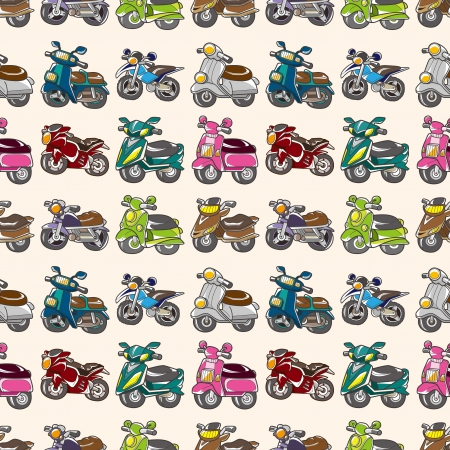 motor scooter: seamless motorcycles pattern,cartoon vector illustration Illustration
